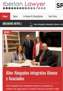Repercusión en prensa de la integración de Alonso y Asociados en Alier Abogados